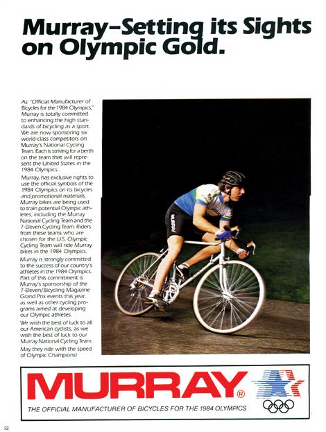Un exemple de publicité arborant le sceau des J.O. (ici les manufacturiers Murray pour le cyclisme)