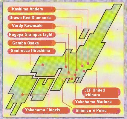 La localisation géographique des dix clubs sélectionnés