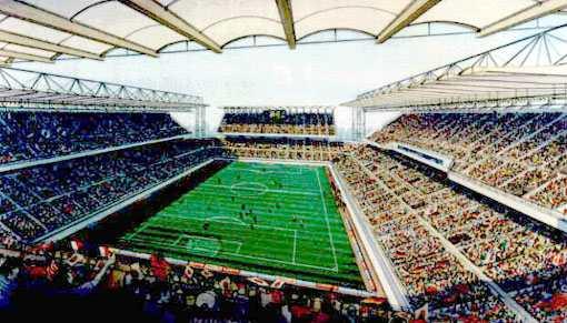 Le Kashima Soccer Stadium, stade construit spécifiquement pour la J.League (ici le projet)