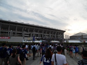 L'arrivée au Nissan Stadium.