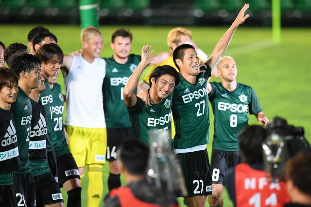 """Matsumoto s'est défait de Tosu (2-1), en """"se déplaçant à domicile"""" comme plusieurs clubs de J2. (photo: yamaga-fc.com)"""